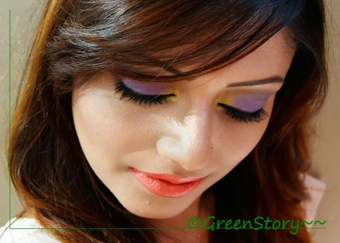 Violet and Yellow Eye Makeup