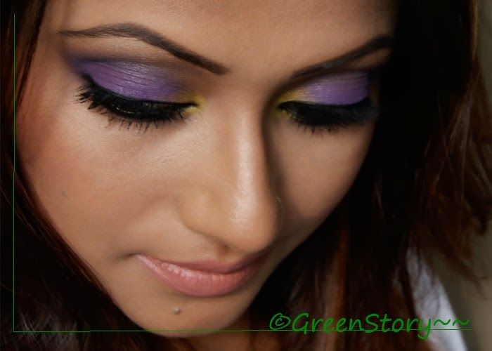 Violet and Yellow Eye Makeup
