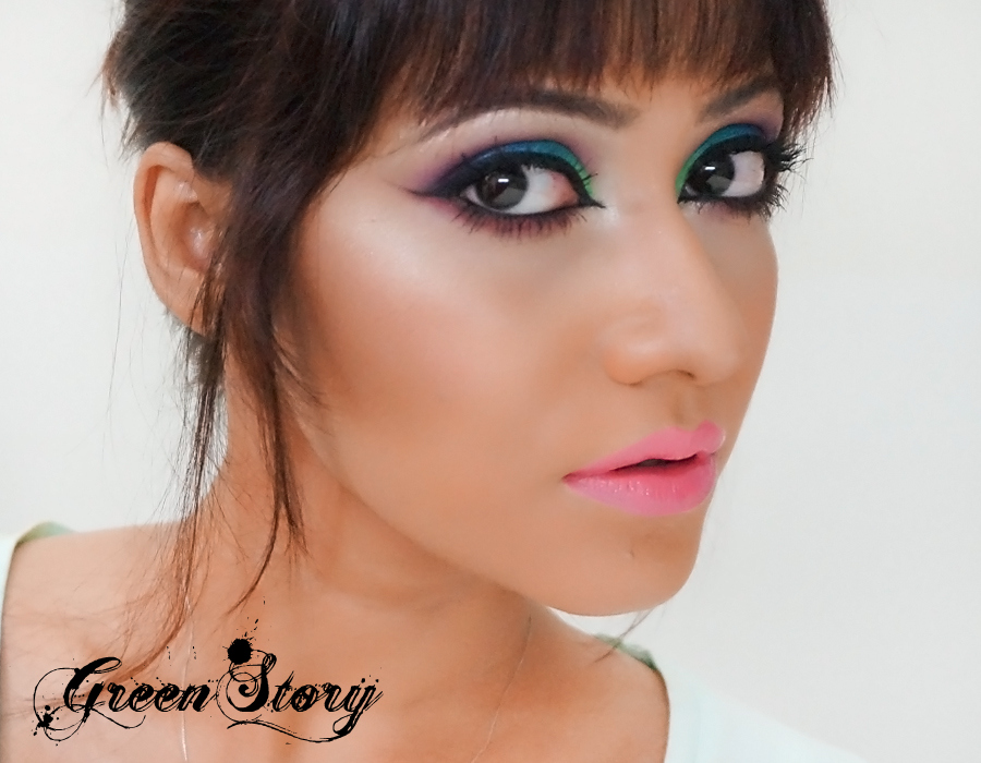 eye makeup Pictorial | blue, parrot green and purple hue eye makeup