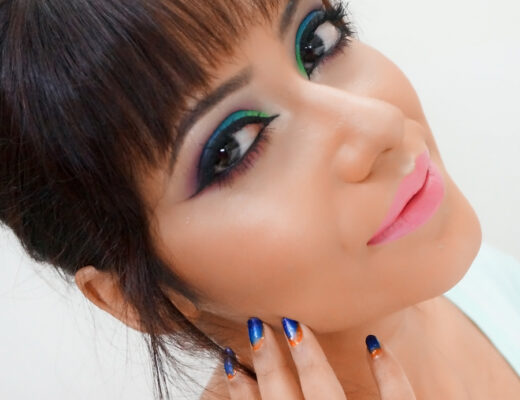 eye makeup Pictorial by Green Story | blue, parrot green and purple hue eye makeup
