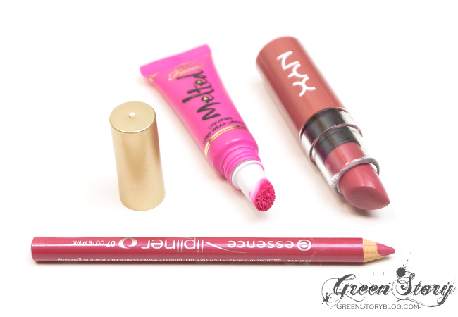 Too Faced Melted Fuchsia, NYX Pops and Essence Cute Pink Swatch