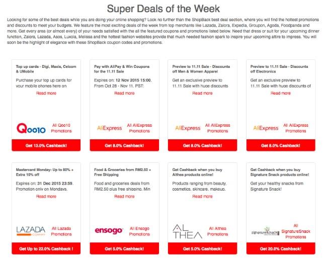 Save money Via Shopback Deals