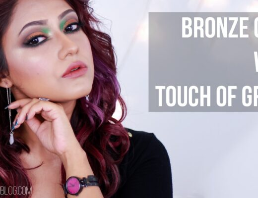 Bronze Gold with Bright Green Eye Makeup