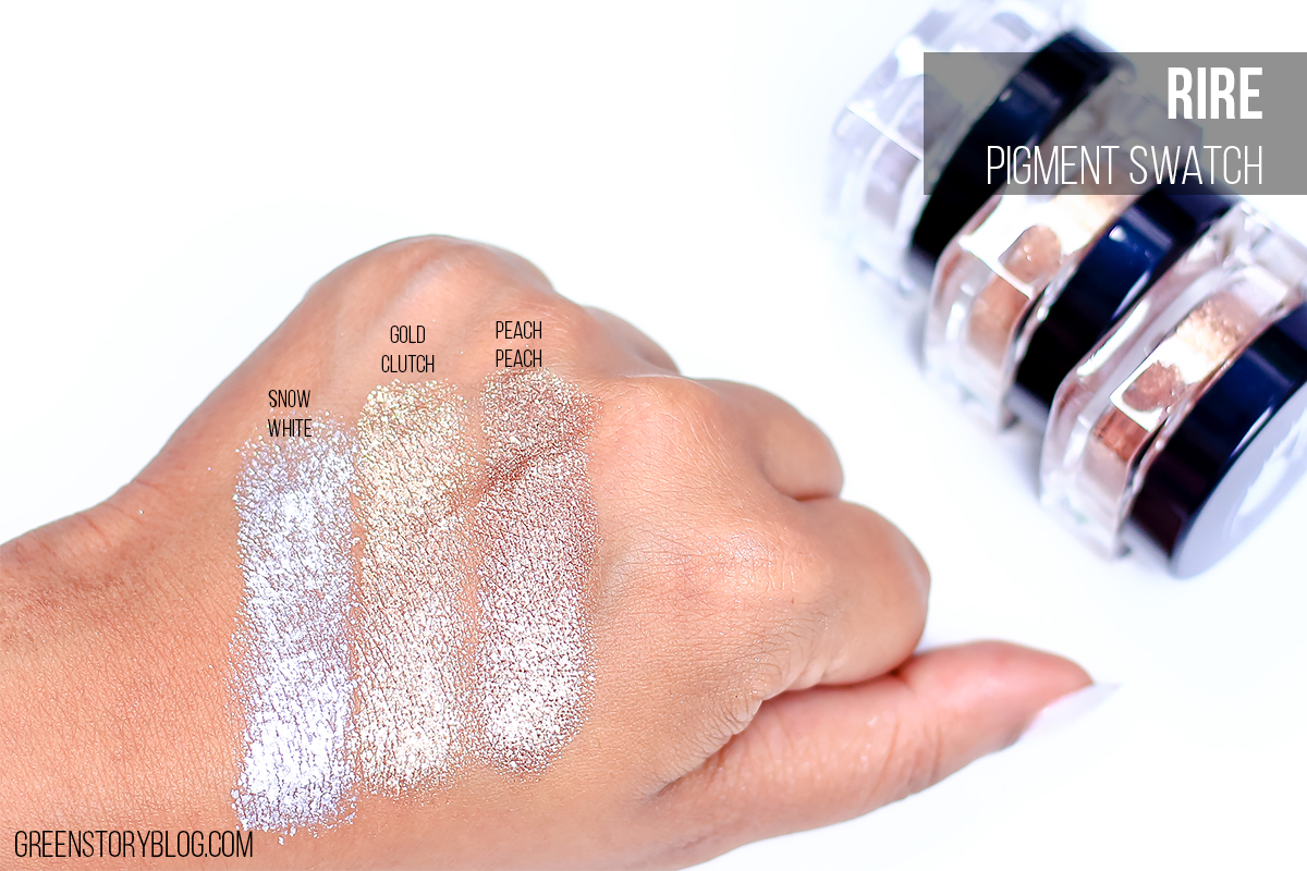 Rire Eye Pigment| Snow White, Gold Clutch and Peach Peach Swatch