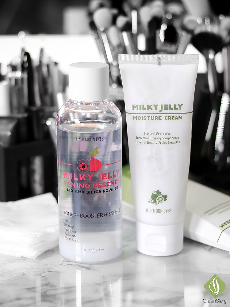 Half Moon Eyes Skincare | Milky Jelly Toning Essence and Moisture Cream