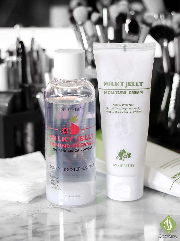 Half Moon Eyes Skincare | Milky Jelly Toning Essence and Moisture Cream