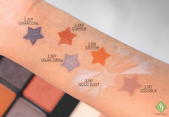 Jennifer Lopez Inglot collection - eyshadow, sculpting powder and highlighter Trio Swatch | JLO glow